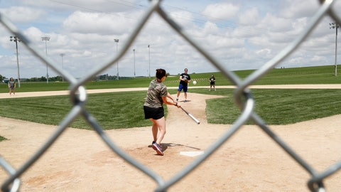 <p>               Visitors play on the field at the Field of Dreams movie site, Friday, June 5, 2020, in Dyersville, Iowa. Major League Baseball is building another field a few hundred yards down a corn-lined path from the famous movie site in eastern Iowa but unlike the original, it's unclear whether teams will show up for a game this time as the league and its players struggle to agree on plans for a coronavirus-shortened season. (AP Photo/Charlie Neibergall)             </p>