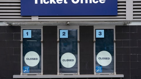 <p>               FILE - In this March 14, 2020, file photo, a closed ticket office is shown at Etihad Stadium where Manchester City were due to play Burnley in an English Premier League soccer match, in Manchester, England. Many professional sports league, such as the NFL and European soccer leagues, have lucrative television contracts and big-money corporate sponsors that fill their substantial coffers. But the domestic soccer league in the U.S. still relies heavily on ticket sales, merchandising and concessions, much like many university athletic departments, and without games their very ability to make ends meet would stretch the abilities of even the savviest of accountants. (AP Photo/Jon Super, File)             </p>