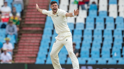 """<p>               FILE - In this file photo dated Saturday, Dec. 28, 2019, England's bowler James Anderson, in action on day three of the first cricket test match between South Africa and England at Centurion Park in Pretoria, South Africa. England fast bowler James Anderson Thursday June 11, 2020, has praised the West Indies for making a """"scary decision"""" to travel to Britain for the three-test cricket series between the teams during the coronavirus pandemic. (AP Photo/Themba Hadebe, FILE)             </p>"""