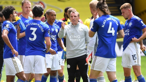<p>               Leicester's manager Brendan Rodgers talks to the team during the English Premier League soccer match between Watford and Leicester CITY at the Vicarage Road Stadium in Watford, England, Saturday, June 20, 2020. (Michael Regan/Pool via AP)             </p>
