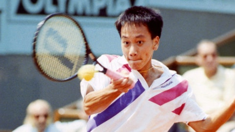 <p>               FILE - In this June 9, 1989, file photo, Michael Chang makes a return during his match against Ivan Lendl in the men's singles final at the French Open tennis championships in Paris. Chang would go on to become the youngest male champion at any Slam, beating Lendl 4-6, 4-6, 6-3, 6-3, 6-3. (AP Photo/File)             </p>