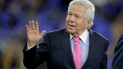 <p>               FILE - In this Nov. 3, 2019, file photo, New England Patriots owner Robert Kraft waves to fans as he walks on the field prior to the team's NFL football game against the Baltimore Ravens in Baltimore. Florida prosecutors will try to save their prostitution solicitation case against Kraft when they argue before an appellate court Tuesday, June 30, 2020, that his rights weren't violated when police secretly video recorded him allegedly paying for sex at a massage parlor. (AP Photo/Julio Cortez, File)             </p>