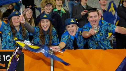 <p>               Spectators react ahead of the Super Rugby Aotearoa rugby game between the Highlanders and Chiefs in Dunedin, New Zealand, Saturday, June 13, 2020. Super Rugby Aotearoa is the first major rugby union tournament to resume since the COVID-19 outbreak and one of the first major sports events in the world at which there will be no limitation on crowd size. (Derek Morrison /Photosport via AP)             </p>