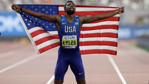 <p>               FILE - In this Oct. 1, 2019, file photo, Noah Lyles of the United States, celebrates winning the gold medal in the men's 200 meter final at the World Athletics Championships in Doha, Qatar. Lyles is spending his time these days trying to process what's happening in his country — a land riven with protests, pain and questions in the aftermath of the killing of George Floyd. (AP Photo/Petr David Josek, File)             </p>