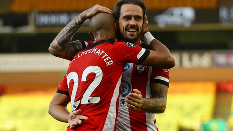 <p>               Southampton's Nathan Redmond, left, celebrates with his teammate Danny Ings scoring his side's third goal during the English Premier League soccer match between Norwich City and Southampton at Carrow Road in Norwich, England, Friday, June 19, 2020. (AP Photo/Richard Heathcote/Pool)             </p>