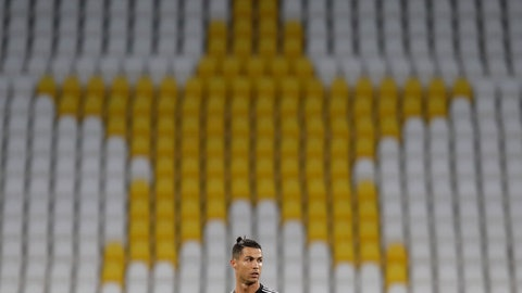 <p>               Juventus' Cristiano Ronaldo stands in front of the empty stands during an Italian Cup second leg soccer match between Juventus and AC Milan at the Allianz stadium, in Turin, Italy, Friday, June 12, 2020. The match was being played without spectators because of the coronavirus lockdown. (AP Photo/Luca Bruno)             </p>