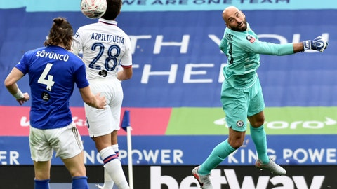 <p>               Leicester's Caglar Soyuncu, left, jumps for the ball with Chelsea's Cesar Azpilicueta during the FA Cup sixth round soccer match between Leicester City and Chelsea at the King Power Stadium in Leicester, England, Sunday, June 28, 2020. (AP Photo/Rui Vieira, Pool)             </p>