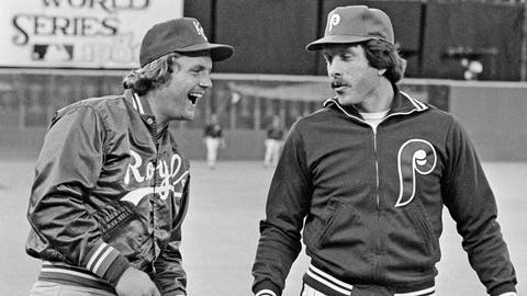 <p>               FILE - In this Oct. 14, 1980, file photo, Kansas City Royals slugger George Brett, left, and Philadelphia Phillies home run champ Mike Schmidt laugh during warmups before the first game of the World Series in Philadelphia. The money, the scouting, the buzz was all different when Major League Baseball held its annual June draft a half-century ago. With this year's picking set to start Wednesday, June 10, 2020, Schmidt remembers how it was when he was chosen in 1971. (AP Photo/File)             </p>