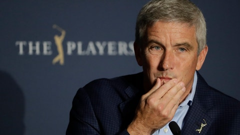 <p>               FILE - In this March 13, 2020, file photo, PGA Tour Commission Jay Monahan is shown during a news conference in Ponte Vedra Beach, Fla. Monahan decided against a public statement on the civil unrest sparked by the police killing of George Floyd, instead sending a letter to players. (AP Photo/Chris O'Meara, File)             </p>