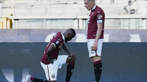 <p>               Torino's Nicolas Nkoulou, left, kneels as he celebrates with his teammate Andrea Belotti after scoring his side's opening goal, during the Serie A soccer match between Torino and Parma, at the Olympic Stadium in Turin, Italy, Saturday, June 20, 2020. Serie A restarts Saturday following the easing of restrictions due to the COVID-19 pandemic, with matches being played without spectators because of the coronavirus lockdown. (Fabio Ferrari/LaPresse via AP)             </p>