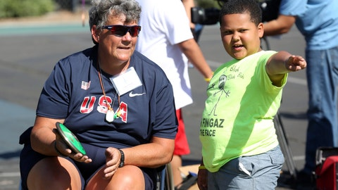 <p>               FILE - In this May 2, 2015, file photo, Paralympian Angela Madsen, left, works with Los Angeles Unified School District students during Ready, Set, Gold! Day at Trinity Street Elementary in Los Angeles. The U.S. Coast Guard says the body Madsen, who was rowing from California to Hawaii, is headed to Tahiti. A friend of Madsen, 60, a paraplegic Marine Corps veteran, contacted the Coast Guard on Sunday, June 21, 2020, after not hearing from her for more than 24 hours. The next day, a National Guard air crew flew over her last known location more than 1,000 miles off Hawaii and spotted her lifeless body in the water, tethered to her boat. A boat en route to Tahiti retrieved her body. (Photo by Matt Sayles/Invision for Samsung/AP Images, File)             </p>