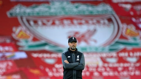 <p>               Liverpool's manager Jurgen Klopp stands on the pitch before the English Premier League soccer match between Liverpool and Crystal Palace at Anfield Stadium in Liverpool, England, Wednesday, June 24, 2020. (Shaun Botterill/Pool via AP)             </p>