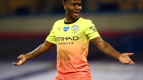 <p>               Manchester City's Raheem Sterling gestures during the English Premier League soccer match between Chelsea and Manchester City at Stamford Bridge, in London, England, Thursday, June 25, 2020. (AP Photo/Julian Finney,Pool)             </p>