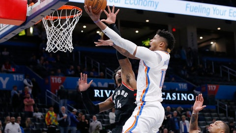 <p>               Oklahoma City Thunder center Justin Patton, center, goes to the basket in front of Toronto Raptors forward Rondae Hollis-Jefferson (4) during the second half of an NBA basketball game Wednesday, Jan. 15, 2020, in Oklahoma City. (AP Photo/Sue Ogrocki)             </p>