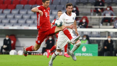 <p>               Eintracht Frankfurt's Timothy Chandler, right, in action with Bayern Munich's Benjamin Pavard during the German soccer cup semi-final match between Bayern Munich and Eintracht Frankfurt in Munich, Germany, Wednesday, June 10, 2020. (Kai Pfaffenbach/Pool via AP)             </p>