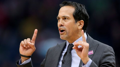 <p>               Miami Heat coach Erik Spoelstra questions a referee during the first half of the team's NBA basketball game against the New Orleans Pelicans in New Orleans, Friday, March 6, 2020. (AP Photo/Rusty Costanza)             </p>