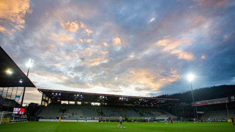 <p>               A colourful evening sky can be seen during a German Bundesliga soccer match between SC Freiburg and Hertha BSC Berlin in Freiburg , Germany, Tuesday, June 16, 2020. (Tom Weller/Pool via AP)             </p>