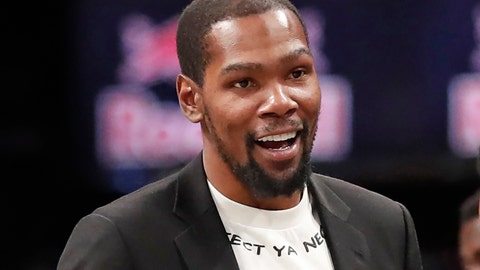 <p>               FILE - In this Dec. 26, 2019, file photo, injured Brooklyn Nets player Kevin Durant smiles as he greets teammates returning to the bench during a timeout in the second half of an NBA basketball game against the New York Knicks, in New York. Brooklyn Nets forward Kevin Durant has joined the ownership group of Major League Soccer's Philadelphia Union. Durant, a 10-time NBA All-Star, has a 5% ownership stake, with an option for 5% more in the near future, the Union announced Monday, June 15, 2020. (AP Photo/Kathy Willens, File)             </p>