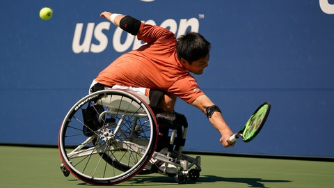 <p>               FILE - In this Sept. 7, 2019, file photo, Shinjo Kunieda, of Japan, returns a shot to Alfie Hewett, of the United Kingdom, during the men's wheelchair singles quarterfinals of the U.S. Open tennis championships in New York. The U.S. Tennis Association changed its plans and now will include wheelchair competition at the scaled-down U.S. Open after athletes complained about the original decision to drop their event entirely this year. The USTA announced Wednesday, June 24, 2020, that wheelchair tennis will be played at Flushing Meadows from Sept. 10-13, the last four days of the Grand Slam tournament.(AP Photo/Eduardo Munoz Alvarez, File)             </p>