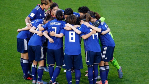<p>               FILE - In this June 25, 2019, file photo,  Japan players embrace ahead of the Women's World Cup round of 16 soccer match between the Netherlands and Japan at Roazhon Park, in Rennes, France. The Japan Football Association is expected to pull out of bidding for the 2023 Women's World Cup, according to a report by Japanese news agency Kyodo on Monday, June 22, 2020.  (AP Photo/Francois Mori, File)             </p>