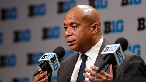 <p>               Big Ten commissioner Kevin Warren addresses the media in Indianapolis, Thursday, March 12, 2020, after it was announced that the remainder of the Big Ten Conference men's basketball tournament will be cancelled. (AP Photo/Michael Conroy)             </p>
