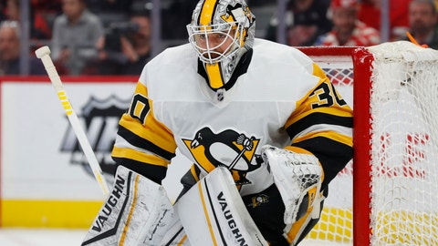 <p>               FILE - In this Jan. 17, 2020, file photo, Pittsburgh Penguins goaltender Matt Murray plays against the Detroit Red Wings in the second period of an NHL hockey game in Detroit. Murray says he's focusing on the NHL's return to play, not the potential economic ramifications on the league due to the COVID-19 pandemic. (AP Photo/Paul Sancya, File)             </p>