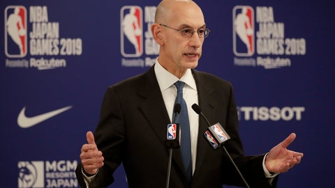 <p>               FILE - In this Oct. 8, 2019, file photo, NBA Commissioner Adam Silver speaks at a news conference before an NBA preseason basketball game between the Houston Rockets and the Toronto Raptors in Saitama, near Tokyo. It's been over three months since the commissioners of major sports cancelled or postponed events because of the coronavirus. Enough time for us to grade them on how they've handled the virus so far. (AP Photo/Jae C. Hong, File)             </p>