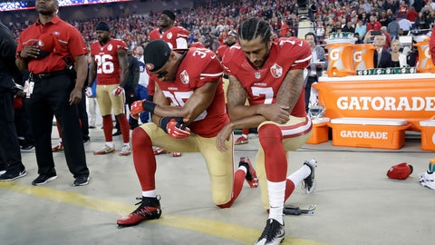 <p>               FILE - In this Sept. 12, 2016, file photo, San Francisco 49ers safety Eric Reid (35) and quarterback Colin Kaepernick (7) kneel during the national anthem before an NFL football game against the Los Angeles Rams in Santa Clara, Calif. When Colin Kaepernick took a knee during the national anthem to take a stand against police brutality, racial injustice and social inequality, he was vilified by people who considered it an offense against the country, the flag and the military. (AP Photo/Marcio Jose Sanchez, File)             </p>