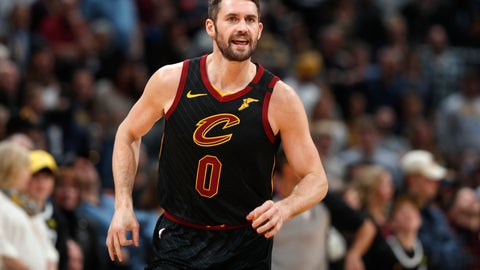 <p>               FILE - In this Jan. 11, 2020, file photo, Cleveland Cavaliers forward Kevin Love heads up the court after making a 3-point basket against the Denver Nuggets during the first half of an NBA basketball game in Denver. Love received the Arthur Ashe Award for Courage at the ESPY Awards on Sunday, June 21, 2020, for sparking a national conversation about mental health. (AP Photo/David Zalubowski, File)             </p>