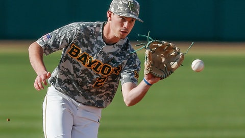 <p>               FILE - In this March 16, 2019, file photo, Baylor sophomore shortstop Nick Loftin fields a grounder during the team's NCAA college baseball game against Cal Poly in Waco, Texas. The Kansas City Royals selected Loftin in the draft Wednesday, June 10, 2020. (AP Photo/Brandon Wade, File)             </p>
