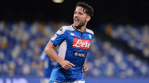 <p>               Napoli's Dries Mertens celebrates scoring his side's opening goal during the Italian Cup second leg semifinal soccer match between Napoli and Inter Milan, at the Naples San Paolo Stadium, Italy, Saturday, June 13, 2020. The match is being played without spectators because of the COVID-19 restriction measures. (Cafaro/LaPresse via AP)             </p>
