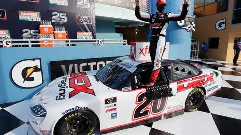 <p>               Harrison Burton celebrates after winning a NASCAR Xfinity Series auto race Saturday, June 13, 2020, in Homestead, Fla. (AP Photo/Wilfredo Lee)             </p>