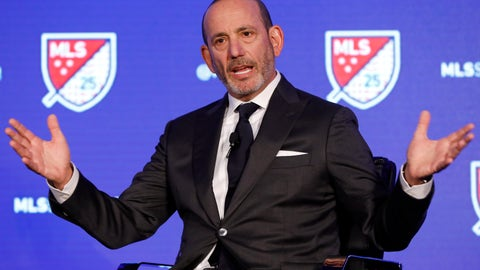<p>               Major League Soccer Commissioner Don Garber speaks during the Major League Soccer 25th Season kickoff event in New York, Wednesday, Feb. 26, 2020. (AP Photo/Richard Drew)             </p>
