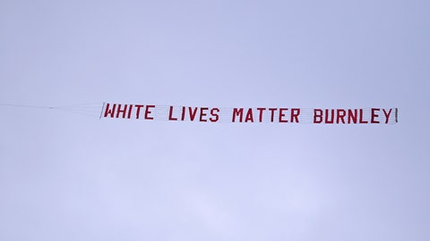 <p>               A plane towing a banner reading White Lives Matter Burnley flies above the stadium during the during the English Premier League soccer match between Manchester City and Burnley at Etihad Stadium, in Manchester, England, Monday, June 22, 2020. (AP Photo/Shaun Botterill,Pool)             </p>