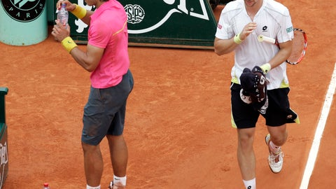 <p>               FILE - In this May 31, 2009, file photo, Sweden's Robin Soderling, right, and defending champion Spain's Rafael Nadal walk back to their seats during their fourth round match of the French Open tennis tournament at the Roland Garros stadium in Paris. Soderling won 6-2, 6-7 (2), 6-4, 7-6 (2).  It wasn't just that Nadal was unbeaten through 31 matches at the French Open and considered a lock to become the first man with five consecutive titles there. It's also that Soderling never had been past the second round at any major.(AP Photo/Christophe Ena, File)             </p>