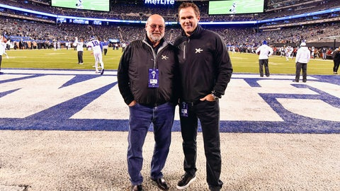<p>               In this 2019 photo provided by XTECH, XTECH co-founders Teddy Monica, left, and and Bob Broderick pose in MetLife Stadium in East Rutherford, N.J. Broderick and Monica have found ways to get shoulder pads out to NFL, college and high school players in the midst of the coronavirus pandemic. (Evan Pinkus/XTECH via AP)             </p>