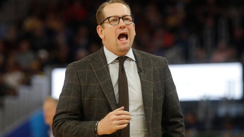 <p>               Toronto Raptors head coach Nick Nurse yells toward players during the second half of his team's NBA basketball game against the Golden State Warriors in San Francisco, Thursday, March 5, 2020. (AP Photo/Jeff Chiu)             </p>