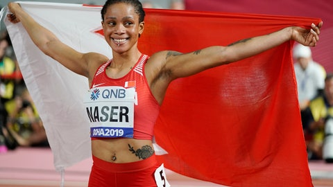 <p>               FILE - In this file photo dated Thursday, Oct. 3, 2019, Salwa Eid Naser of Bahrain, celebrates after winning gold in the women's 400 meter final at the World Athletics Championships in Doha, Qatar. Women's 400-meter world champion Salwa Eid Naser was provisionally suspended Friday June 5, 2020, by the Athletics Integrity Unit for not making herself available for doping tests, charging the sprinter with whereabouts violations. (AP Photo/David J. Phillip, FILE)             </p>
