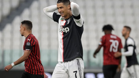 <p>               Juventus' Cristiano Ronaldo grimaces during an Italian Cup second leg soccer match between Juventus and AC Milan at the Allianz stadium, in Turin, Italy, Friday, June 12, 2020. The match was being played without spectators because of the coronavirus lockdown. (AP Photo/Luca Bruno)             </p>