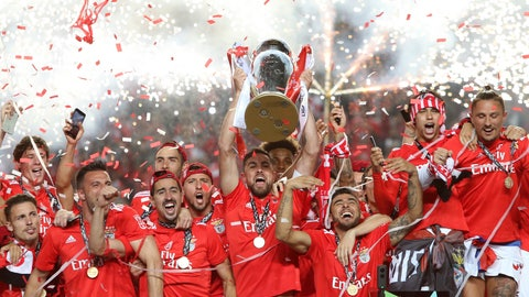 <p>               FILE - In this May 18, 2019 file photo, Benfica's team captain Jardel lifts the trophy after Benfica won the Portuguese league by beating Santa Clara in the last round soccer match at the Luz stadium in Lisbon. The Portuguese league will resume Wednesday, June 4, 2020 as European soccer continues to make its gradual return amid the coronavirus pandemic. (AP Photo/Armando Franca, File)             </p>