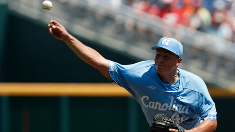 Jun 16, 2018; Omaha, NE, USA; North Carolina Tar Heels pitcher Gianluca Dalatri (42) pitches against the Oregon State Beavers in the first inning during the College World Series at TD Ameritrade Park. Mandatory Credit: Bruce Thorson-USA TODAY Sports