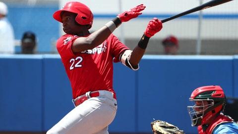 Jun 21, 2019; Bradenton, FL, USA; Team Larkin infielder Jordan Walker (22) at bat during the ninth inning at IMG Academy. Mandatory Credit: Kim Klement-USA TODAY Sports
