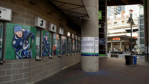 Mar 15, 2020; Vancouver, British Columbia, CAN; Shuttered ticket windows are seen at Rogers Arena. A game between the Winnipeg Jets at Vancouver Canucks has been cancelled following a decision by the NHL to postpone its season due to the Covid-19 coronavirus outbreak. Mandatory Credit: Anne-Marie Sorvin-USA TODAY Sports