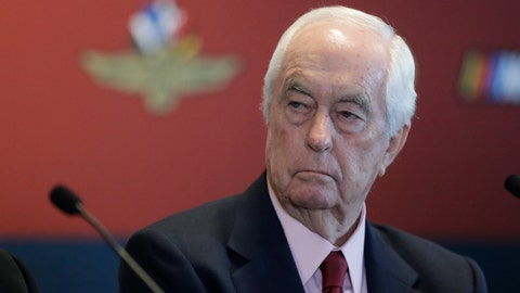 FILE - In this Jan. 15, 2020 file photo Indianapolis Motor Speedway owner Roger Penske listens during a news conference at the Indianapolis Motor Speedway in Indianapolis. Penske will watch his first race as owner of the IndyCar Series from a suite for the first time since 1995 when his teams failed to make the Indianapolis 500. He bought the series and Indianapolis Motor Speedway in January but his debut was delayed by the coronavirus pandemic. The IndyCar season opens Saturday, June 6, 2020 at Texas Motor Speedway. (AP Photo/Darron Cummings)