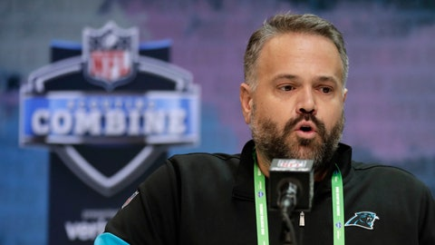 <p>               FILE - In this Feb. 25, 2020, file photo, Carolina Panthers head coach Matt Rhule speaks during a press conference at the NFL football scouting combine in Indianapolis, Tuesday,. The Panthers have a new head coach, two new coordinators, a different starting quarterback and a roster with more turnover from last season than any team in the NFL. (AP Photo/Michael Conroy, File)             </p>