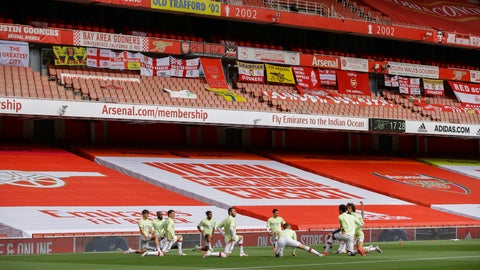 <p>               Arsenal players warm up prior the English Premier League soccer match between Arsenal and Norwich City at the Emirates Stadium in London, England, Wednesday, July 1, 2020. (Richard Heathcote/Pool via AP)             </p>