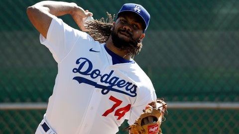 <p>               Los Angeles Dodgers relief pitcher Kenley Jansen throws during spring training baseball Wednesday, Feb. 19, 2020, in Phoenix. (AP Photo/Gregory Bull)             </p>