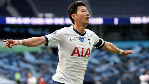 <p>               Tottenham's Son Heung-min celebrates after scoring his side's first goal during the English Premier League soccer match between Tottenham Hotspur and Arsenal at the Tottenham Hotspur Stadium in London, England, Sunday, July 12, 2020. (Michael Regan/Pool via AP)             </p>