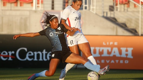 <p>               Sky Blue FC forward Midge Purce, left, and OL Reign forward Darian Jenkins (11) vie for the ball during the first half of an NWSL Challenge Cup soccer match at Zions Bank Stadium on Tuesday, June 30, 2020, in Herriman, Utah. (AP Photo/Rick Bowmer)             </p>
