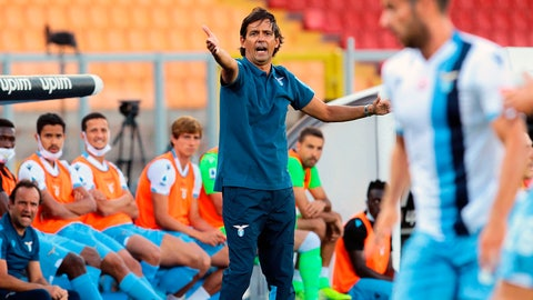 <p>               Lazio coach Simone Inzaghi gives instructions to his players during the Serie A soccer match between Lecce and Lazio at the Stadio del Mare in Lecce, Italy, Tuesday, July 7, 2020. (Donato Fasano/LaPresse via AP)             </p>